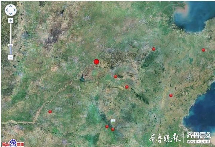 济南地质稳定性偏高,处在震中网格的空白位置