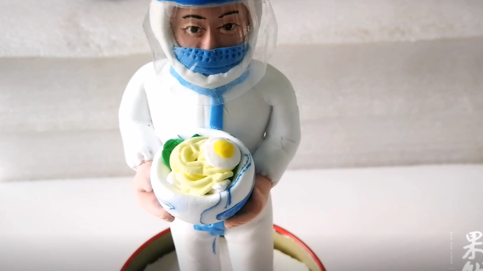 果然视频|齐鲁志愿者用粘土做出一碗长寿面,帮一线医生完成心愿