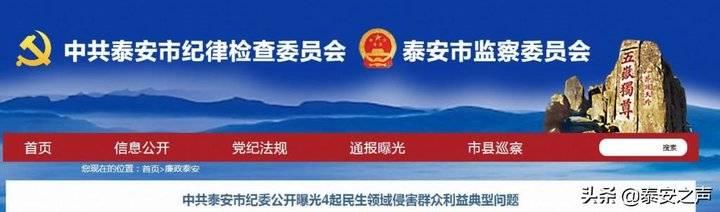 中共泰安市纪委公开曝光4起民生领域侵害群众利益典型问题