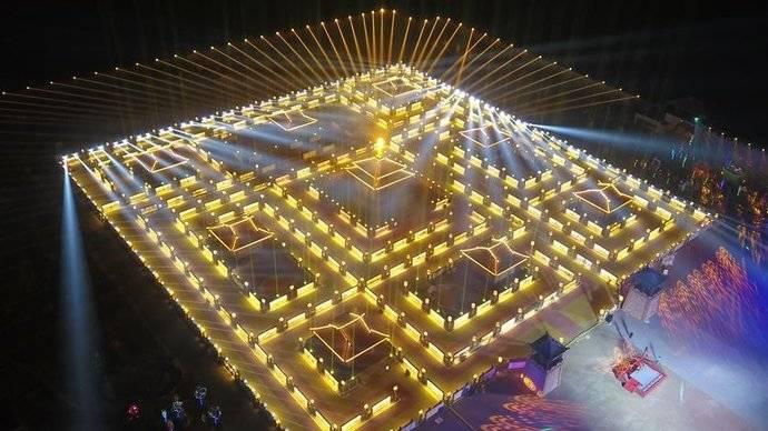 果然视频|起源于封神演义,观览像走迷宫,九曲黄河灯阵亮灯了