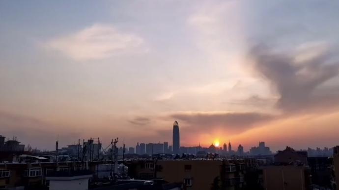 果然视频 延时摄影看济南的夕阳,壮观!