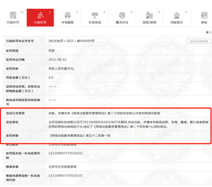 豆瓣关联公司被处罚 存在出版、传播违禁内容的行为